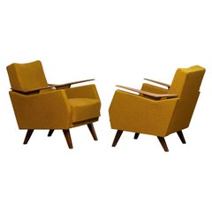 1950's Pair Lounge / Easy / Club Chairs Made in Germany with Wooden Armrests