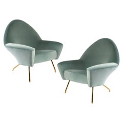 1950s Pair of 770 Armchairs, Brass and Velvet, Joseph Andre Motte, Ed Steiner