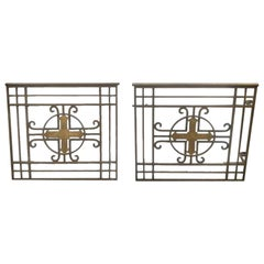 1950s Pair of Antique Steel Altar Gates Done in a Brass and Gold Finish