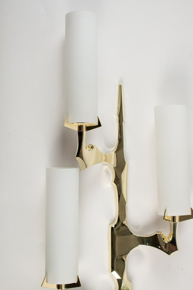 Mid-20th Century 1950s Pair of Arlus Bronze Sconces For Sale