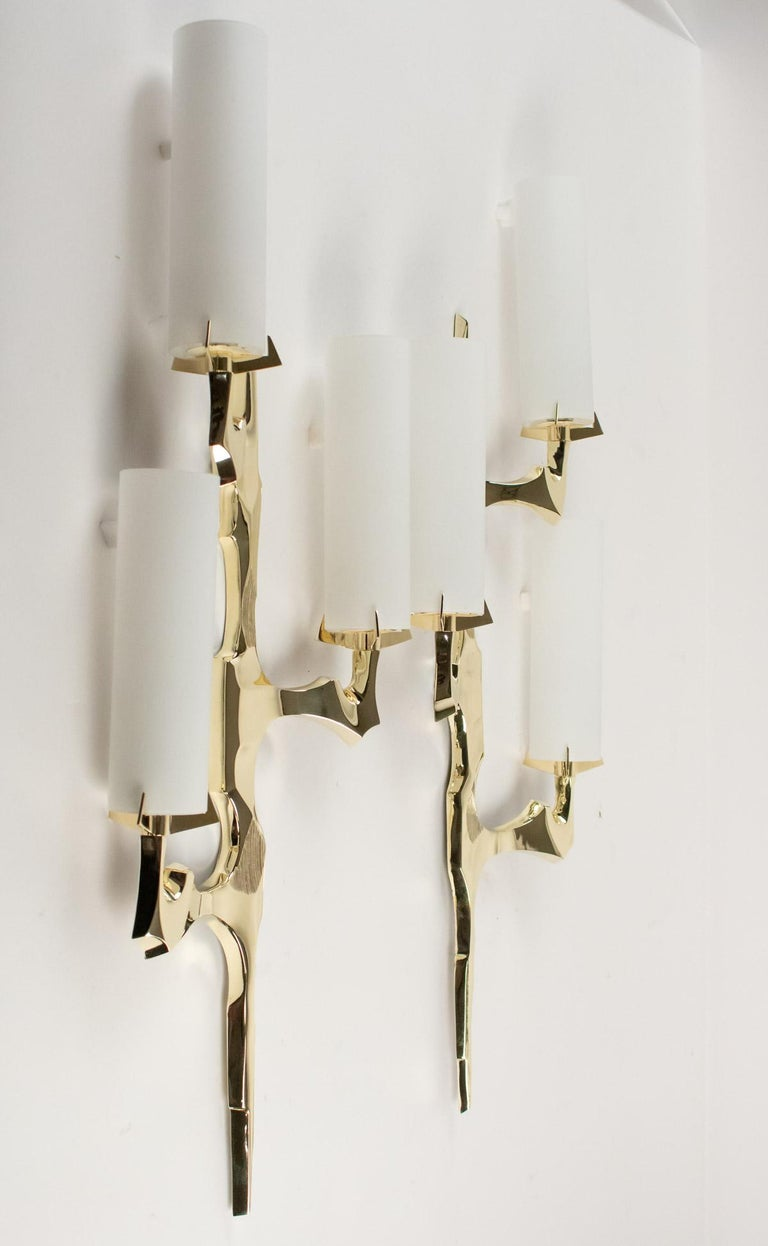 1950s Pair of Arlus Bronze Sconces For Sale 1