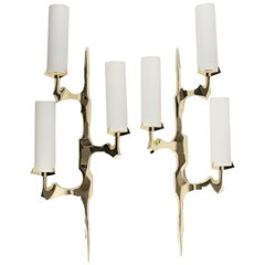 1950s Pair of Arlus Bronze Sconces