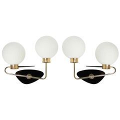 1950s Pair of Asymmetrical Arlus Sconces