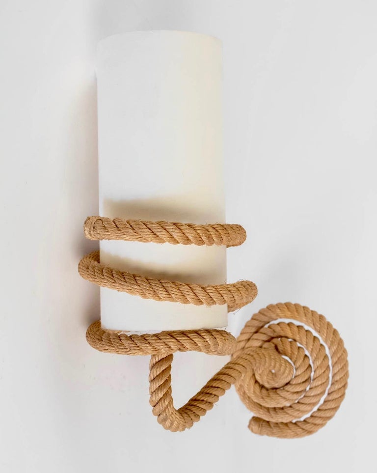 French 1950s Pair of Audoux Minet Rope Sconces For Sale