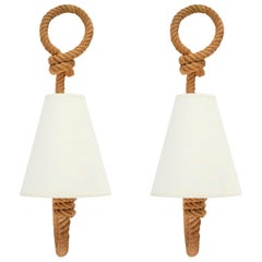 1950s Pair of Audoux & Minet Rope Sconces