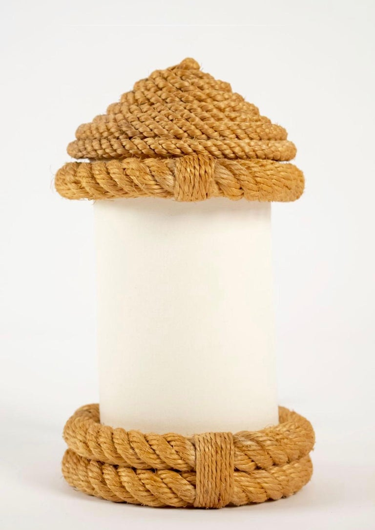 Mid-20th Century 1950s Pair of Audoux & Minet Rope Table Lanterns For Sale