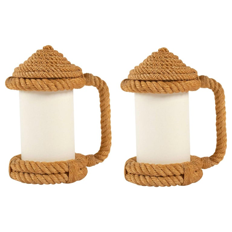 1950s Pair of Audoux & Minet Rope Table Lanterns For Sale