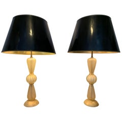 1950s Pair of Barovier & Toso Italian Murano Glass Table Lamps with Gold Flecks