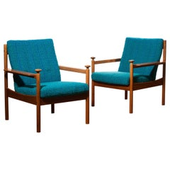 1950s, Pair of Blue Lounge Chairs by Torbjørn Afdal for Sandvik & Co. Mobler
