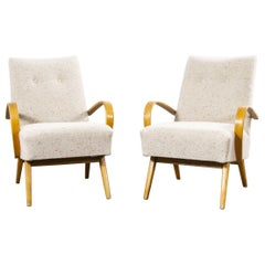 1950s Pair of Boucle Wool Upholstered Armchairs, Jindrich Halabala