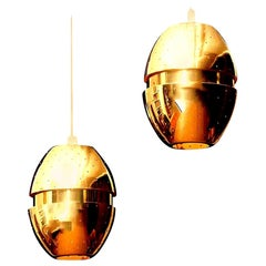 1950s Pair of Brass 'Egg' Pendant by Hans-Agne Jakobsson