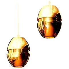1950s Pair of Brass 'Egg' Pendant by Hans-Agne Jakobsson