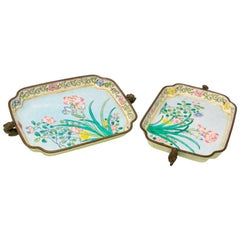 1950s Pair of Bronze Enameled Asian Trays