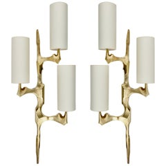 1950s Pair of Bronze Wall Lights Maison Arlus