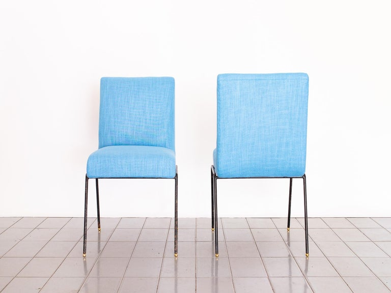 Mid-Century Modern 1950s Pair of Chairs in Wrought Iron and Blue Linen by Abraham Palatnik, Brazil For Sale