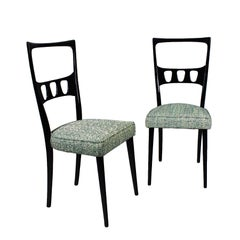 1950s Pair of Chairs, School of Turin, Beech, Fabric, Italy