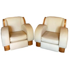 1950's Pair of Cream & Oak Veneer Leather Art Deco Style Club Chairs
