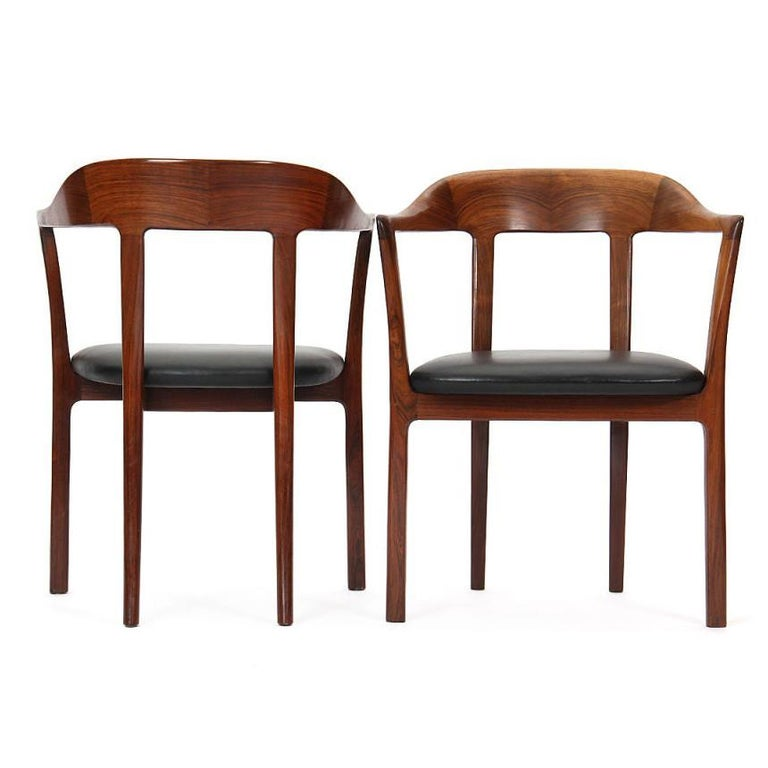 1950s Pair of Danish Hump Back Armchairs by Ole Wanscher for A.J. Iversen For Sale