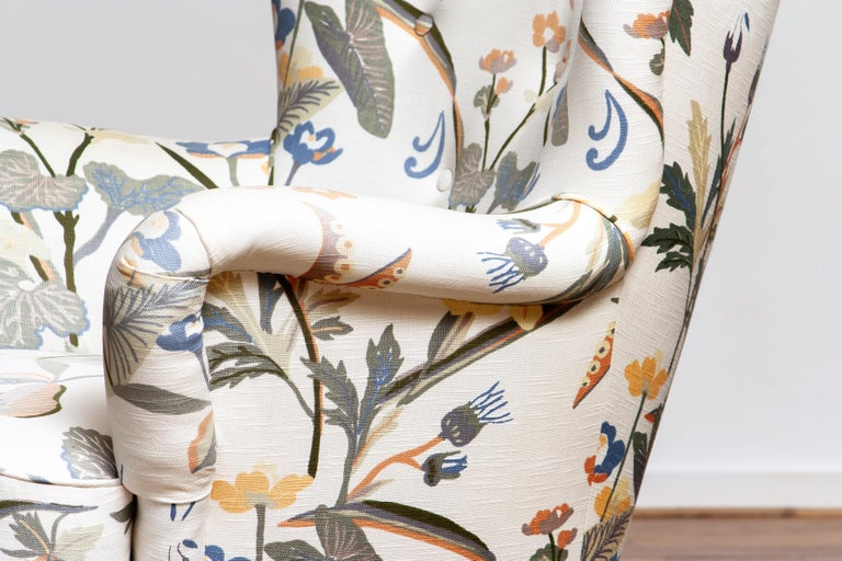 Mid-Century Modern 1950s, Pair of Floral Lounge Easy Club Chairs, Ilmari Lappalainen for Asko