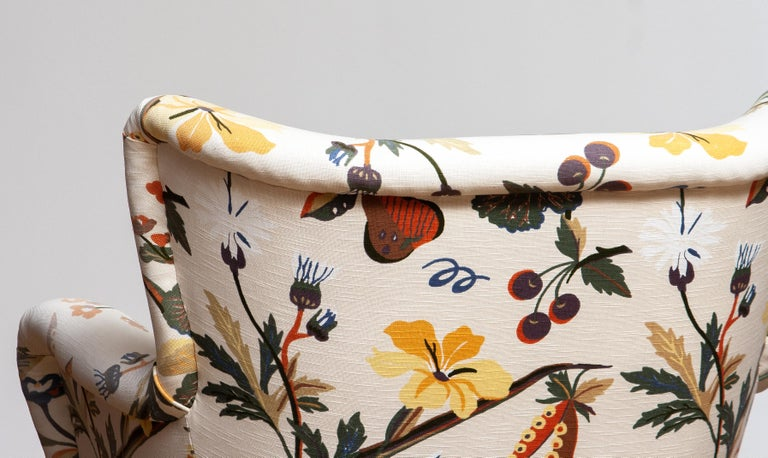 Finnish 1950s, Pair of Floral Lounge Easy Club Chairs, Ilmari Lappalainen for Asko