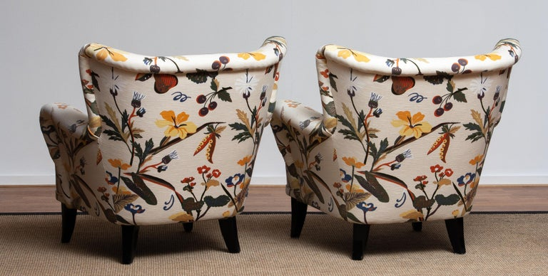 1950s, Pair of Floral Lounge Easy Club Chairs, Ilmari Lappalainen for Asko In Good Condition In Silvolde, Gelderland