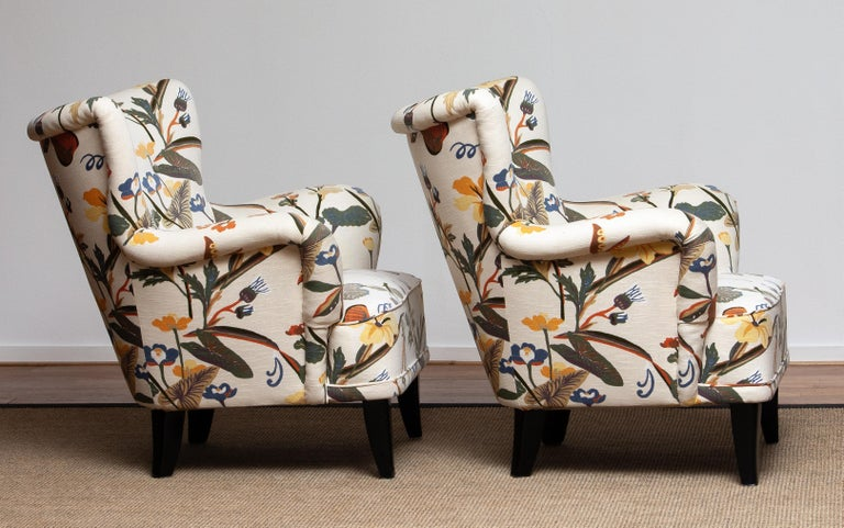 Mid-20th Century 1950s, Pair of Floral Lounge Easy Club Chairs, Ilmari Lappalainen for Asko