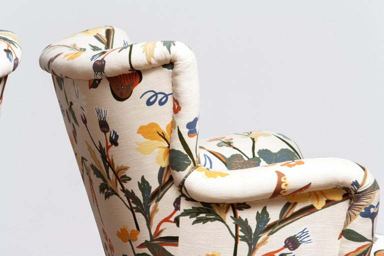 Fabric 1950s, Pair of Floral Lounge Easy Club Chairs, Ilmari Lappalainen for Asko