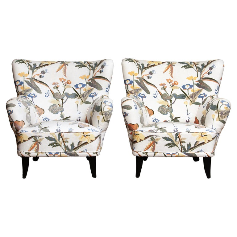 1950s, Pair of Floral Lounge Easy Club Chairs, Ilmari Lappalainen for Asko