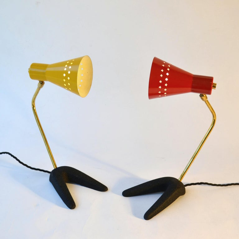 Mid-Century Modern 1950s Pair of French Bedside Lamps in Red and Yellow For Sale