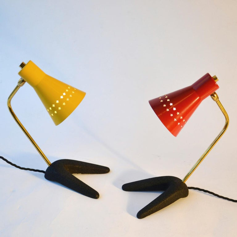 Mid-20th Century 1950s Pair of French Bedside Lamps in Red and Yellow For Sale
