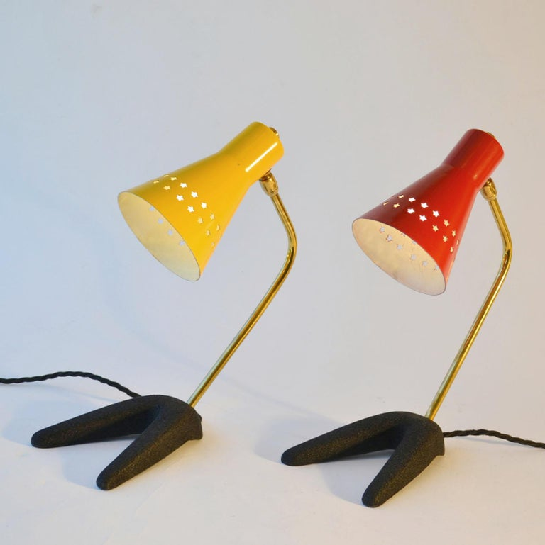 1950s Pair of French Bedside Lamps in Red and Yellow For Sale 1