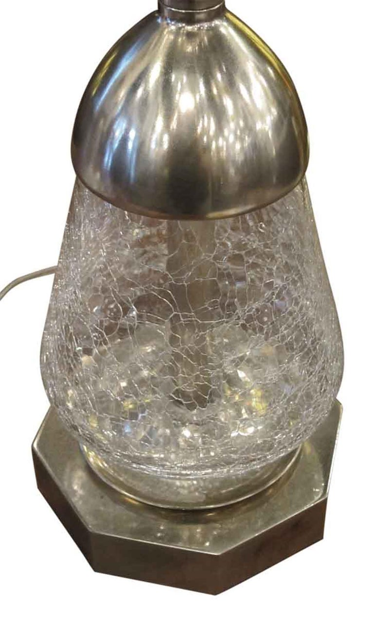 1950s Pair of French Crackled Glass Lamps with Nickel Plating and Brass For Sale 1