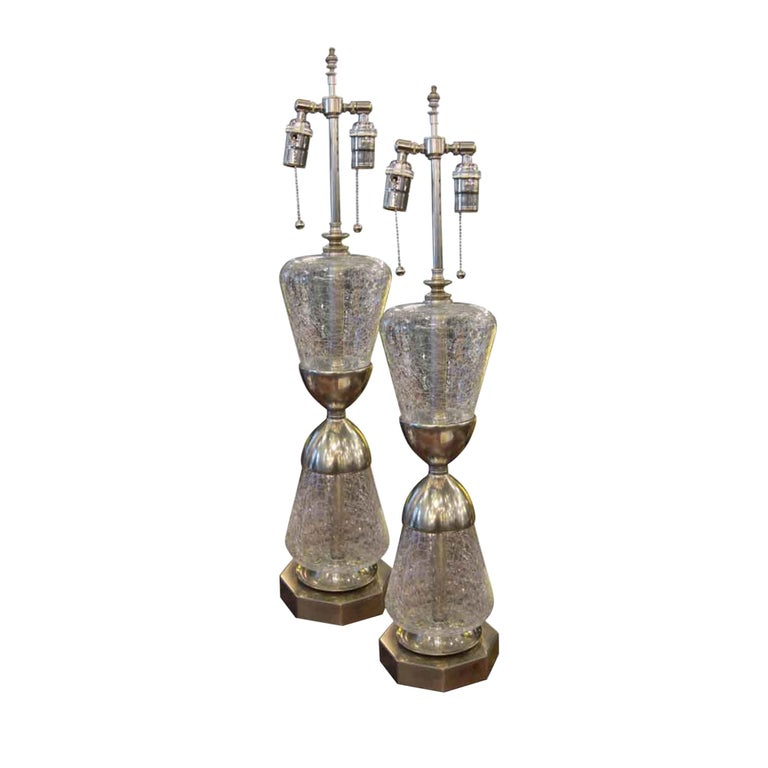 1950s Pair of French Crackled Glass Lamps with Nickel Plating and Brass For Sale