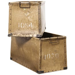 1950s Pair of French Vulcanised Card Industrial Crates