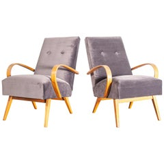 1950s Pair of Grey Upholstered Armchairs by Jindrich Halabala