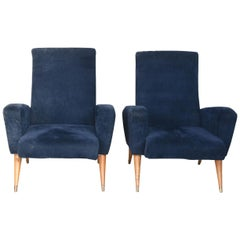 1950s Pair of Italian Armchairs Covered in Blue Suede