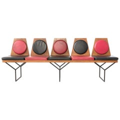 1950s Pair of Italian Benches in Wood and Red and Black Vinyl