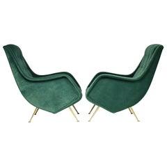 1950s Pair of Italian Midcentury Armchairs by Aldo Morbelli