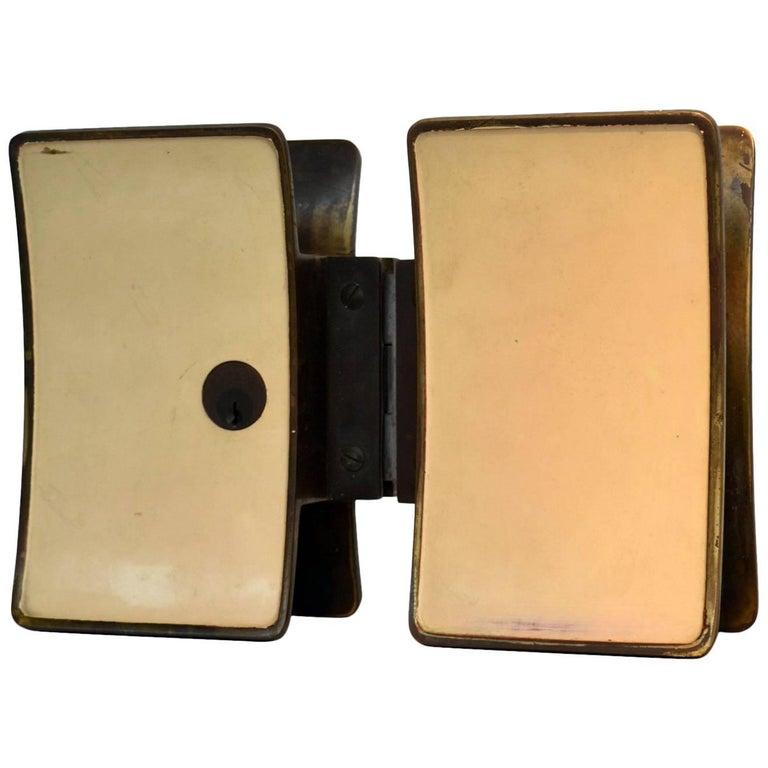1950s Pair of Italian Push-Pull Door Handles Brass and Cream Enamel For Sale
