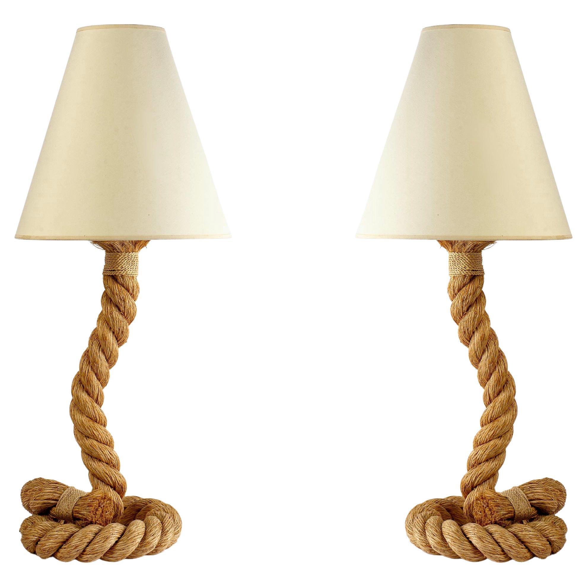 1950s Pair of Large Audoux and Minet Rope Lamps