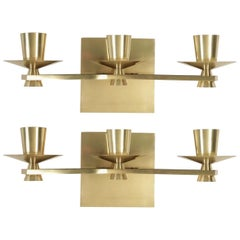 1950s Pair of Large Bronze and Brass Sconces Signed Maison Cheret