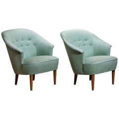"""1950s Pair of """"Lillasyster"""" Lounge or Easy Chairs by Carl Malmsten, Sweden"""