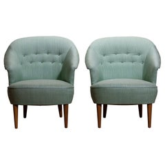 "1950s Pair of ""Lillasyster"" Lounge or Easy Chairs by Carl Malmsten, Sweden"