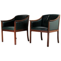1950s Pair of Lounge Chairs, Ole Wanscher for PJ Møbler, Denmark