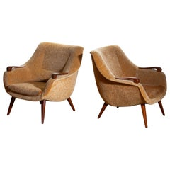 1950s, Pair of Lounge Club Chairs in Camel Chenille and Teak, Made in Denmark