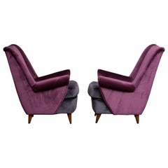 1950s Pair of Lounge / Easy Chairs Designed Gio Ponti Made by ISA Bergamo, Italy
