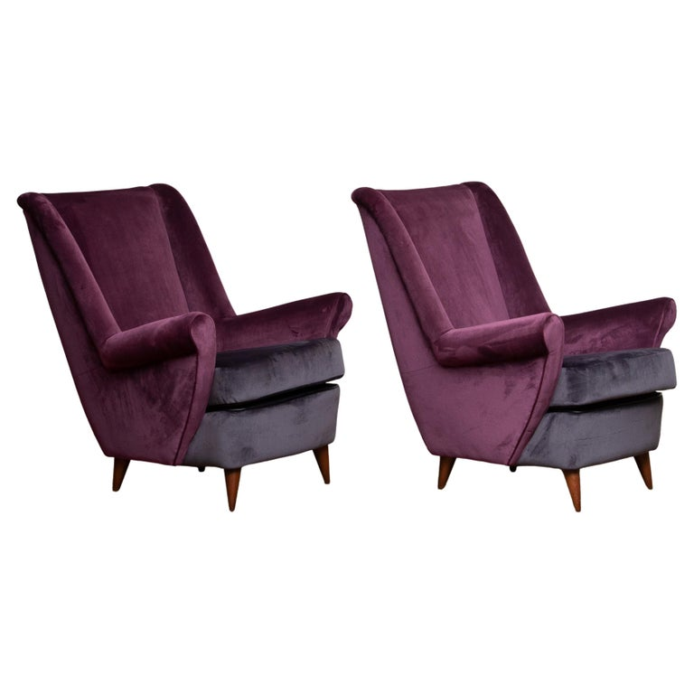 1950s Pair of Lounge / Easy Chairs Designed Gio Ponti Made by ISA Bergamo, Italy For Sale