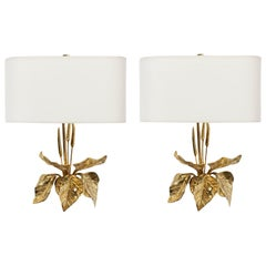 1950s Pair of Maison Charles Foliage Bronze Sconces