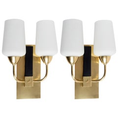 1950s Pair of Maison Lunel Sconces, Brass and Opaline Glass