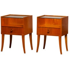 1950s Pair of Nightstands or Bedside Tables from Sweden in Elm with Glass Top